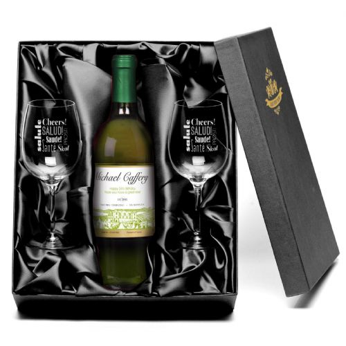 Personalised White Wine & Glasses Gift Set